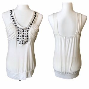Off White Tank with Metal Stud Embellishments